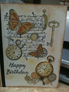 clocks keys butterflies card