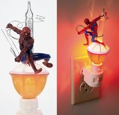 If having the Spider-Man EVA Lamp on your desk isn't enough to light up your life, here's a little night light that might do the trick for you. Spidey is posed Disney Marvel, Light Up, Spiderman, Action Figures, Bubbles, Geek Stuff, Table Lamp, Night Lights, Hulk