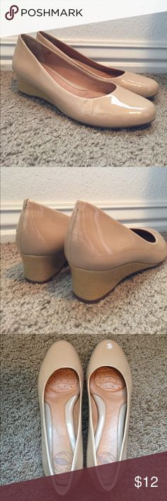 Nude Wedges Nude dress shoes with small wedge heel. Nurture by Lamaze Shoes Wedges
