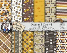 Dogs and Cats 1 Digital Paper puppy kitten by NanaVicsDigitals