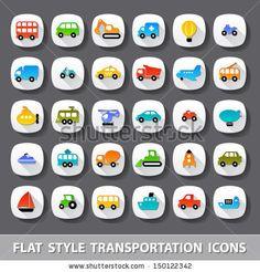 flat style transportation icons by kolopach via shutterstock
