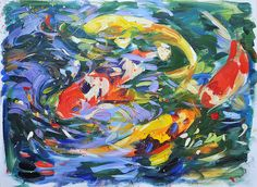 Contemporary ORIGINAL koi painting by by lisapalombostudios, $695.00