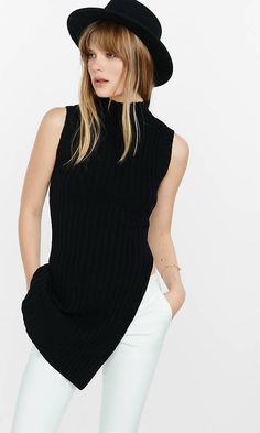 Mock Neck Asymmetrical Slit Tunic Sweater from EXPRESS