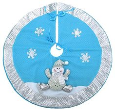 21 Inch Blue  Silver Christmas Tree Skirt With 3D Snowman  Snowflake Decoration ** Check this awesome product by going to the link at the image.