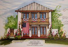 Orlando Home Designer.  #Urban In-flill Narrow Lot House Plan.  www.SusanBerryDesign.com Happy 4th of July!