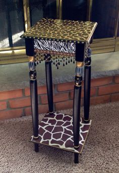 Animal Print Table hand painted leopard by paintingbymichele