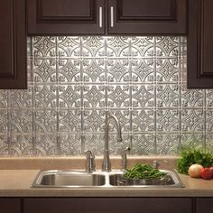 "easy, economical ""punched tin"" backsplash! the whole kitchen"