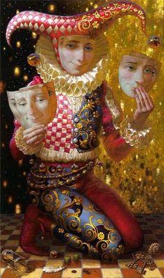Il mondo di Mary Antony: Victor Nizovtsev- The Jokers Gustav Klimt, Folklore Russe, Victor Nizovtsev, Circus Aesthetic, Porcelain Dolls Value, Fabian Perez, Black Fairy, Fairy Paintings, Send In The Clowns