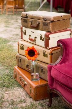 rustic Suitcase Wedding Card Holder, bottle wedding decor ideas, Autumn wedding pictures
