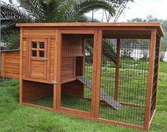 How to Make Your Own Chicken Coop... i dont have chickens.. .i have dogs sooo just put the house on the ground and you have a dog house with a cage... #chickencoopideas