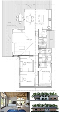 Small house plan. Nice open interior areas. three bedrooms, covered terrace, full wall height windows. Modern small home design. Floor plan from ConceptHome.com