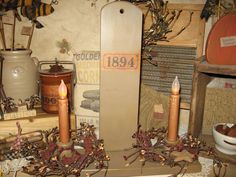 prim dbl hanging candle sconce w prim label and prim batt candles  berry rings not inc