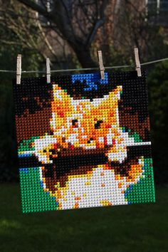 Hang In There #cat on a #washingline #lego #mosaic from photobrix.com