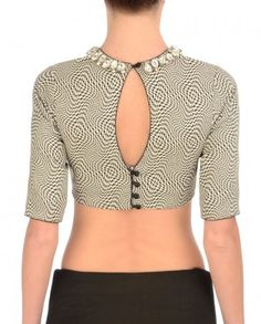 $99 Black & White Blouse with Houndstooth Print