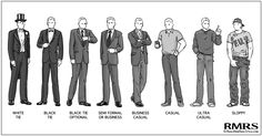 A Guide To Social Dress Codes for Men | Black Tie | Business Dress Codes | Casual Dress Code (via @antoniocenteno)