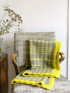 Plaid Wool Blanket in Light Brown & Chartreuse w/ Citron Crocheted Edge Small Size Throw