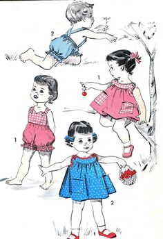 Advance 8626 Toddler Girls or Boys Playsuit or Girls Yoked Pinafore Dress Childrens Vintage Sewing Pattern Chest 22 Toddler Sewing Patterns, Sewing Kids Clothes, Kids Patterns, Sewing For Kids, Vintage Sewing Patterns, Moda Vintage, Vintage Girls, Vintage Children, Vintage Outfits