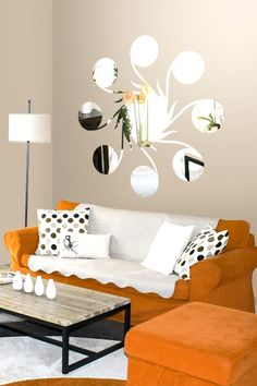 Wall Decals Line & Circle Mirror-Reflective Decals- WALLTAT.com Art Without Boundaries