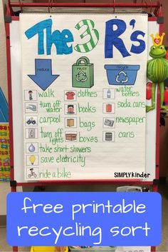 Free Printable Recycling Sort Used 3 Ways Free Recycling Sort Printable from Simply Kinder. Print this out to use as an anchor chart, a student activity, or for a center. Great for Earth Day in your preschool, kindergarten, and first grade classrooms. Earth Day Projects, Earth Day Crafts, Earth Day Activities, Science Activities, Earth Day Games, Science Kits, Group Activities, Kindergarten Science, Kindergarten Worksheets