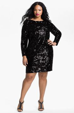 Aidan Mattox Long Sleeve Sequin Velvet Dress (Plus) | Nordstrom