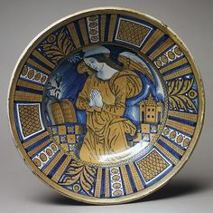 Plate  Date: ca. 1520 Culture: Italian (Deruta) Medium: Maiolica (tin-enameled earthenware), lustered