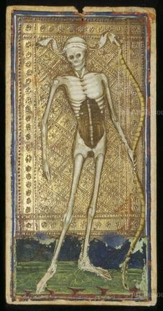 , Cicognara, Antonio (15th CE), Death, Personification of, Gothic (1150-1500), Italian, M.630/PML, Skeleton, Tarot Cards, Visconti-Sforza tarot cards
