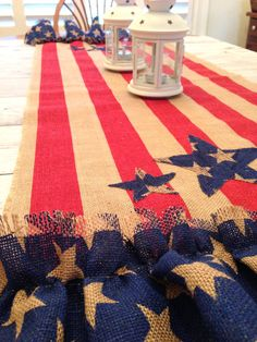 New Design, See Listing! Patriotic Table Runner Burlap 4th of July by LollysCubbyHole