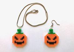 Halloween Pumpkin Perler Bead Earrings by CarafirasCreations