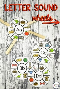 Engaging Letter Sound Wheels! These letter sound wheels are absolute alphabet perfection! The playful clip cards are a motivating way to work on beginning sounds with preschool, pre-k and kindergarten kids during literacy centers! #playdoughtoplato #literacycenters #teachingreading #kindergarten #preschool