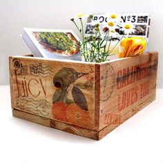 Make pallet storage wood crates & transfer inkjet image to wood with only wax paper + water!