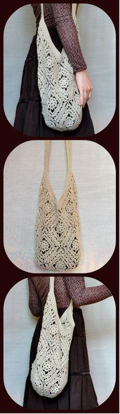 Beige #Tote Bag - Shoulder #Crochet Squares Beach Tote Bag - Crochet #Linen Market Bag - Women's Boho Crochet Lace Beach Bag - #ItWasYarn