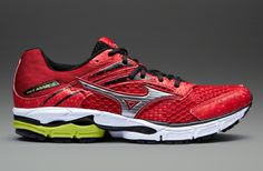 Mizuno Wave Inspire 9 - Mens Running Shoes - Chinese Red-Silver-Lime Punch