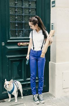 Suspenders and blue coated jeans kick this up a notch. Also cool how the converses kind of mirror the white shirt and suspenders