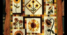 Yea it's done. It has been a few years since I started this quilt. It was a BOM at Sager Creek Quilt Shop . Pam's (the owner) fri. Sunflower Leaves, Sunflower Quilts, Quilting Projects, Sunflowers, Quilt Blocks, Applique, Board, Shop, Sign