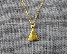 Small Hammered Gold Triangle Necklace / Simple by VerseJewelry, $28.00