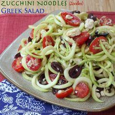 Zucchini Noodles (Zoodles) Greek Salad - Cupcakes & Kale Chips - http://cupcakesandkalechips.com/2014/07/31/zucchini-noodles-zoodles-greek-salad/#_a5y_p=2116142