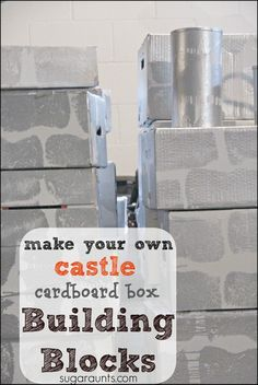 Make your own giant castle blocks using diaper boxes. This is great for pretend play and imagination! And cheap to make.