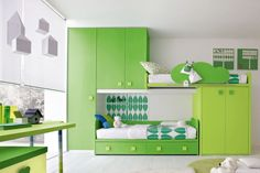 Boy Bedroom. Awesome Residing Preferable Home And Room Spangle Specially For Kids: Stylish Kids Room Ideas Light White Nuance With Unique Green Two In One Mounted Bunk Bed And Wardrobe ~ wegli