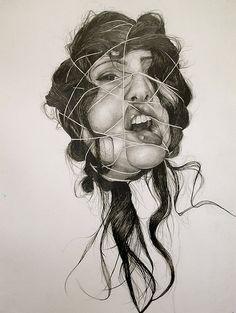 "Self-Deception Portraits. Artist and illustrator Gillian Lambert created this series of drawings called ""Self-Deception"". The artist graduated from Kenyon Ap Studio Art, Gillian Lambert, Arte Gcse, Kunst Portfolio, Travel Couple Quotes, Distortion Art, Art Alevel, Gcse Art Sketchbook, Sketchbook Ideas"