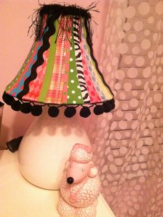 Little girls ribbon covered lampshade trimmed in eyelash trim and Pom poms diy zebra damask room poodle French Paris Parisian Eiffel tower