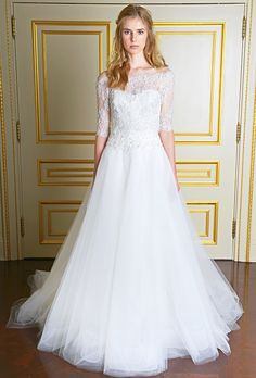 Brides.com: The New Classic: 45 Off-the-Shoulder Wedding Dresses  Wedding dress by MarchesaPhoto: Courtesy of Marchesa