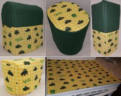 Custom Green/Yellow Tractor Matching Cover Set for Kitchen Countertop Appliances