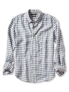 Camden-Fit Gingham Linen Shirt