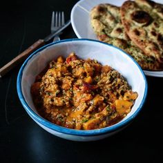 Sunday dinner of #homemade #sweetpotato and mince #curry  healthy version with a side of garlic and #coriander #naan  #homecooking #recipe #instafood #spices #indianfood #fdbloggers #foodiegram #homecooked #explorefood #foodstyling #foodie