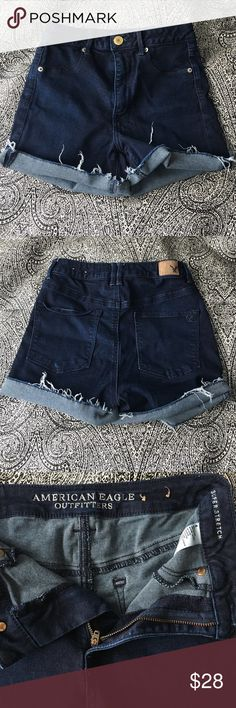 AE SHORTS High wasted, dark wash AE shorts. Barely worn, no tags. American Eagle Outfitters Shorts Jean Shorts