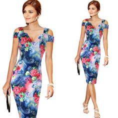 Vfemage Off Shoulder Cut Out Deep V Summer Slim Casual Party Club Evening Bodycon Pencil Dress