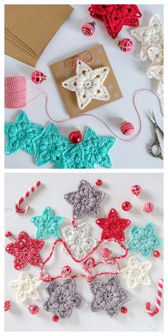 Christmas Little Star Ornament Free Crochet Patterns Crochet Star Patterns, Crochet Snowflake Pattern, Crochet Garland, Crochet Stars, Christmas Crochet Patterns, Holiday Crochet, Crochet Snowflakes, Crochet Designs, Crochet Flowers