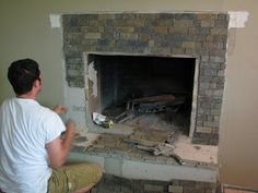 Refacing The Brick Fireplace Using Concrete By Chic On The Cheap
