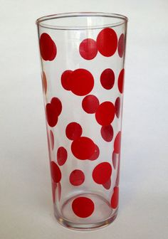 Dotted red glass. $5,00, via Etsy.