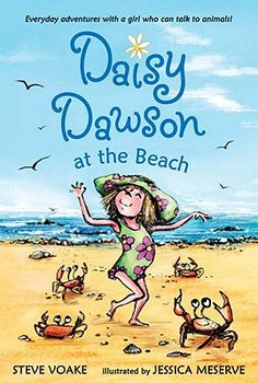 DAISY DAWSON AT THE BEACH by Steve Voake, illustrated by Jessica Messerve. Every book in this charming series is better than the last. Daisy is a girl who likes to talk to the animals. One day, she realizes she really CAN talk to them! In each book she rescues or comes to the aid of a different cadre of critters. This is a good, small step up from MAGIC TREE HOUSE and JUNIE B JONES.